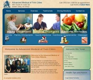 Chiropractic, Medical and Massage website online