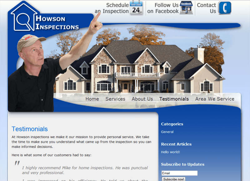 Home inspection website Live